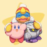 3boys bird blue_eyes blush_stickers closed_eyes hal_laboratory_inc. hat hoshi_no_kirby king_dedede kirby kirby_(series) kirby_(specie) male_focus mask meta_knight multiple_boys nintendo no_humans open_mouth penguin pink_puff_ball smile star wusagi2 yellow_eyes