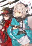 2girls absurdres ahoge bangs black_bow black_hair black_scarf blonde_hair blurry bow cloak closed_mouth demon_archer depth_of_field eyebrows_visible_through_hair fate_(series) green_eyes grin hair_between_eyes hair_bow half_updo hat highres holding holding_sword holding_weapon hoshimiya_nazuna japanese_clothes katana kimono kimono_skirt koha-ace long_hair looking_to_the_side military military_hat military_uniform multiple_girls parted_lips petals sakura_saber scarf short_hair smile sword uniform weapon white_kimono