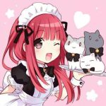 1girl apron bangs blush bow brown_eyes cat company_connection heart long_hair looking_at_viewer lowres maid maid_apron maid_headdress open_mouth red_bow ribbon seiyuu simple_background smile solo tanaka_rie tsunako