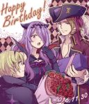 1girl 2boys black_gloves blonde_hair bouquet brother_and_sister brothers camilla_(fire_emblem_if) fire_emblem fire_emblem_if flower gift gloves hair_over_one_eye hairband happy_birthday hat hiyori_(rindou66) leon_(fire_emblem_if) long_hair long_sleeves marx_(fire_emblem_if) multiple_boys open_mouth pirate_hat purple_hair short_hair siblings smile