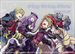 2boys 2girls armor black_gloves blonde_hair breasts brother_and_sister brothers camilla_(fire_emblem_if) cleavage closed_eyes dress elise_(fire_emblem_if) fire_emblem fire_emblem_if flower gift gloves hair_over_one_eye hair_ribbon hairband happy_birthday hiyori_(rindou66) leon_(fire_emblem_if) long_hair marx_(fire_emblem_if) multicolored_hair multiple_boys multiple_girls open_mouth purple_hair ribbon short_hair siblings sisters sitting sweatdrop twintails