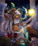 1boy abs armlet book book_stack bracelet clenched_hand column dark_skin dark_skinned_male egyptian_mythology feathers globe hair_ornament headpiece highres jewelry kisn152 long_hair male_focus muscle neck_ring night night_sky pillar purple_hair ring scarf scroll shingoku_no_valhalla_gate sitting sky smile thoth wings yellow_eyes