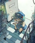 1girl blue_eyes blue_hair door dutch_angle from_above game_console gamecube goggles goggles_removed hair_bobbles hair_ornament hat highres interior kawashiro_nitori key moyazou_(kitaguni_moyashi_seizoujo) pipes repairing sleeveless solo stairs touhou two_side_up wrench