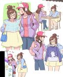 /\/\/\ 2girls alternate_costume arcade arcade_cabinet backpack bag bangs baseball_cap black-framed_eyewear blue_bag blue_jacket blue_pants brown_eyes brown_hair bubble_blowing casual chair chewing_gum coffee coffee_cup controller cropped_jacket cup d.va_(overwatch) dress drinking_straw facepaint food glasses hair_bun hair_ornament hair_stick hands_in_pockets happy hat headphones headphones_around_neck highres holding holding_cup hood hood_down hooded_jacket jacket jewelry jocheong joystick long_hair long_sleeves map mei_(overwatch) milkshake multiple_girls necklace overwatch pants pink_hat pink_shirt playing_games pocket purple_jacket shirt shopping short_dress short_hair shoulder_bag snowflake_hair_ornament swept_bangs table whisker_markings