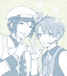 2boys blue_background blush brothers finger_to_mouth flat_sign gloves grin hat headset idol idolish_7 izumi_iori izumi_mitsuki looking_at_viewer male_focus mini_hat mini_top_hat monochrome multiple_boys necktie palru_s2 polka_dot siblings smile square top_hat upper_body v vest