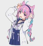 1girl ahoge animal_ears arms_up artist_name blue_hair blue_neckwear blue_ribbon blush bow bowtie braid cat_ears cropped_torso grey_background hairband hololive long_hair long_sleeves looking_at_viewer minato_aqua multicolored_hair neck_ribbon ninomae_ina'nis_(artist) open_mouth purple_hair ribbon sailor_collar simple_background solo twin_braids two-tone_hair violet_eyes virtual_youtuber