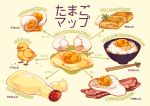 bacon bird bowl chick chopsticks commentary_request cracked_egg directional_arrow egg egg_yolk eggshell food fried_egg mayonnaise mop_(shirokumaiceumaiyo) no_humans number omelet original rice romaji squeeze_bottle sunny_side_up_egg tamagoyaki translated
