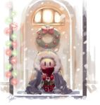1boy artist_name blush bow child christmas_lights coat covered_mouth doorway gloves male_focus monster_boy oversized_clothes papyrus_(undertale) red_gloves red_scarf scarf sitting skeleton snow solo tbhoudai undertale winter_clothes winter_coat wreath younger |_|