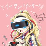 1girl blonde_hair blue_hair commandant_teste_(kantai_collection) controller earphones flying_sweatdrops french game_controller kantai_collection long_hair motion_blur multicolored multicolored_clothes multicolored_hair multicolored_scarf no_hat no_headwear pink_background plaid plaid_scarf playstation_vr ponytail redhead resident_evil_7 scarf solo streaked_hair sweat tk8d32 vr_visor white_hair