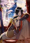 1boy alcohol black_hair cherry_blossoms cup facial_mark gloves hair_over_one_eye highres lamp long_hair looking_to_the_side male_focus orange_eyes pe-ji rokurou_rangetsu sakazuki sake sandals sitting socks solo tales_of_(series) tales_of_berseria