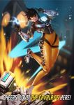 1girl absurdres bangs bastion_(overwatch) bodysuit bomber_jacket breasts brown_eyes brown_gloves brown_hair brown_jacket building clock clock_tower closed_mouth clothes_writing cross-laced_clothes cross-laced_legwear english explosion fur_trim gatling_gun gloves goggles gun handgun hands_up harness highres holding holding_gun holding_weapon jacket leather leather_jacket leg_up mecha medium_breasts midair military_rank_insignia minigun night night_sky nose one_leg_raised orange_bodysuit overwatch pink_lips qsun robot salute shards shoes short_hair short_sleeves sky skyscraper sleeves_rolled_up smile solo spiky_hair strap swept_bangs thigh_strap tower tracer_(overwatch) two-finger_salute vambraces weapon white_shoes yellow_bodysuit
