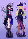 2girls ;) adapted_costume ankle_boots apple apple_poison apple_poison_(cosplay) arm_behind_back aurora_(disney) bangs black_boots black_coat black_eyes black_gloves black_hair black_hat black_jacket black_skirt blonde_hair blue_eyes boots bow breasts brown_legwear closed_mouth collared_shirt cosplay cross-laced_footwear disney eyelashes feathers food fruit full_body gloves gradient gradient_background hand_mirror hat hat_bow hat_ribbon high_heel_boots high_heels highres holding holding_fruit holding_mirror horns jacket kiss lace-up_boots legs_crossed lipstick long_sleeves looking_at_viewer makeup marfie marfie_(cosplay) medium_breasts miniskirt mirror multiple_girls namazu_(dc_27546) one_eye_closed pantyhose pencil_skirt purple_background purple_boots purple_bow purple_ribbon purple_shirt recruiters_(disney) red_lips ribbon shirt short_hair silhouette skirt sleeping_beauty smile snow_white snow_white_and_the_seven_dwarfs standing
