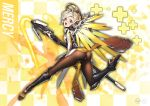1girl artist_name ass blonde_hair blue_eyes blush bodysuit breasts brown_legwear checkered checkered_background covering covering_crotch embarrassed emblem energy_beam faulds from_behind full_body glowing glowing_wings greaves high_ponytail highres holding holding_staff ing9 looking_at_viewer looking_back mechanical_halo mechanical_wings medium_breasts mercy_(overwatch) open_mouth overwatch pantyhose pelvic_curtain signature solo spread_wings staff watermark wings yellow_wings zoom_layer