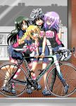 4girls :d ^_^ arm_hug bicycle bike_jersey bike_shorts black_eyes black_legwear blonde_hair blush brick_wall closed_eyes closed_mouth clothes_writing day english eyebrows_visible_through_hair eyes_visible_through_hair fang fingerless_gloves full_body girl_sandwich gloves green_hair ground_vehicle hair_between_eyes hair_over_eyes hand_on_another's_shoulder houndstooth ichinose_yayoi long_hair long_riders! miyake_taishi multiple_girls niigaki_aoi official_art open_mouth outdoors purple_hair saijou_hinako sandwiched shirt shoes smile standing storefront striped striped_legwear takamiya_saki thick_eyebrows very_long_hair w
