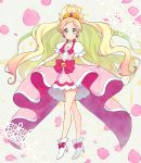 1girl blonde_hair blue_eyes blush boots choker cure_flora dress earrings eyelashes flower flower_earrings frilled_dress frills gloves go!_princess_precure gradient_hair hair_ornament half_updo happy haruno_haruka high_heel_boots high_heels highlights jewelry kurochiroko long_hair long_legs looking_at_viewer magical_girl multicolored_hair pink pink_dress pink_hair pink_ribbon precure puffy_sleeves ribbon smile solo streaked_hair tiara two-tone_hair white_gloves