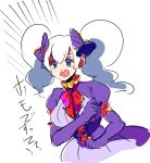 1girl :d bangs blood bow bowtie breasts corset dress drifblim emphasis_lines fujoshi hair_between_eyes hair_bow kz_609 large_breasts long_hair long_sleeves nosebleed open_mouth personification pokemon pokemon_(game) pokemon_dppt puffy_long_sleeves puffy_sleeves purple_bow purple_dress red_bow simple_background sketch smile solo twintails violet_eyes white_background white_hair