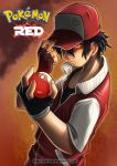 1boy adjusting_clothes adjusting_hat baseball_cap black_hair character_name commentary copyright_name fingerless_gloves gloves glowing glowing_eyes hat hat_over_one_eye holding holding_poke_ball male_focus poke_ball pokemon pokemon_(game) pokemon_rgby pokemon_sm red_(pokemon) red_(pokemon)_(classic) red_(pokemon)_(sm) red_eyes serious shirt short_hair solo t-shirt theofilus_ray watermark web_address