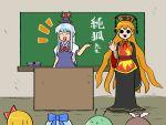 :> chalkboard cirno junko_(touhou) kamishirasawa_keine kasugai_(de-tteiu) mystia_lorelei rumia touhou wriggle_nightbug