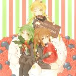 3girls bell bite_mark black_legwear black_serafuku black_shirt black_skirt blonde_hair blue_necktie blueberry blush brown_eyes brown_hair cake chocolate christmas closed_mouth crescent crescent_hair_ornament eating food from_above fruit fumizuki_(kantai_collection) german green_eyes green_hair hair_between_eyes hair_ornament head_tilt heart_hair_ornament high_ponytail highres holding holding_food holly jingle_bell kantai_collection kneehighs long_hair long_sleeves looking_at_viewer low_twintails minigirl mouth_hold multiple_girls nagatsuki_(kantai_collection) necktie one_eye_closed pantyhose raspberry sailor_collar satsuki_(kantai_collection) school_uniform serafuku ship shirt sitting skirt sprinkles strawberry striped suzushiro_(gripen39) twintails vertical-striped_background vertical_stripes very_long_hair wariza watercraft