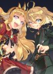 2girls :d ahoge belt blonde_hair blue_eyes cagliostro_(granblue_fantasy) crossover dress evil_grin evil_smile granblue_fantasy grin hairband half-closed_eye highres long_hair long_sleeves looking_at_viewer military military_uniform multiple_girls nanaki_awa open_mouth red_dress signature smile spiked_hairband tanya_degurechaff trait_connection uniform very_long_hair violet_eyes youjo_senki