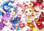 5girls :d ;d animal_ears arisugawa_himari arm_up blue_eyes blue_gloves blue_hair breasts brown_hair cat_ears cleavage cure_chocolat cure_custard cure_gelato cure_macaron cure_whip elbow_gloves extra_ears food_themed_hair_ornament gloves hair_ornament hoshi_(xingspresent) kenjou_akira kirakira_precure_a_la_mode kotozume_yukari lion_ears long_hair looking_at_viewer magical_girl multiple_girls one_eye_closed open_mouth pink_eyes pink_hair precure purple_hair rabbit_ears redhead smile squirrel_ears tategami_aoi twintails usami_ichika white_gloves