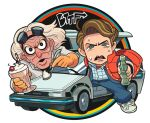 2boys back_to_the_future brown_hair car cherry copyright_name delorean drinking_straw emmett_brown food fruit gashi-gashi glass_bottle gloves goggles goggles_on_head ground_vehicle looking_at_viewer male_focus marty_mcfly motor_vehicle multiple_boys open_mouth spoon sweat