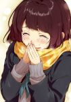 1girl aqua_neckerchief blush brown_hair coat commentary_request crying crying_with_eyes_open fingers_together kawai_makoto long_sleeves neckerchief nose_blush original plaid plaid_scarf scarf shiny shiny_hair signature streaming_tears sweater tears upper_body yellow_scarf
