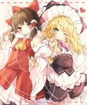 2girls :o ;) apron bangs bare_shoulders beige_background black_hair black_hat black_legwear black_skirt blonde_hair bow braid closed_mouth cowboy_shot crab detached_sleeves dotted_line dress eyebrows_visible_through_hair eyelashes flat_chest fur_trim hair_bow hair_tubes hakurei_reimu half_updo hat heart heart_of_string kirisame_marisa locked_arms long_sleeves looking_at_viewer multiple_girls neck_ribbon one_eye_closed pantyhose pinky_out piyokichi pleated_dress purple_ribbon red_bow red_dress red_eyes red_string ribbon shirt short_dress side_braid sidelocks single_braid skirt skirt_set sleeveless sleeveless_dress smile string swept_bangs thigh-highs touhou tsurime underbust waist_apron white_apron white_shirt witch_hat yellow_eyes