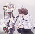 1boy 1girl :d bell black_gloves black_legwear blonde_hair blush braid brown_hair cape elbow_gloves fate/grand_order fate_(series) fujimaru_ritsuka_(male) gloves helmet holding holding_weapon jeanne_alter jeanne_alter_(santa_lily)_(fate) long_hair navel open_mouth polearm ruler_(fate/apocrypha) smile snowing spear squatting thigh-highs uhana very_long_hair weapon yellow_eyes