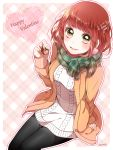 1girl absurdres aran_sweater artist_name bangs black_legwear blush breasts cardigan checkered checkered_background checkered_scarf dress enpera fringe green_eyes green_scarf happy_valentine heart highres looking_at_viewer medium_breasts nono_(emem0421) open_cardigan open_clothes original pantyhose parted_lips redhead ribbed_sweater scarf signature sitting smile solo sweater sweater_dress tareme teeth