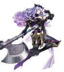 1girl armor black_armor black_boots black_panties boots breasts camilla_(fire_emblem_if) capelet cleavage fire_emblem fire_emblem_heroes fire_emblem_if gloves high_heel_boots high_heels highres holding holding_axe holding_weapon large_breasts leather lips loincloth long_hair looking_at_viewer maeshima_shigeki official_art panties parted_lips purple_gloves purple_hair shiny shiny_clothes shiny_hair shiny_skin smug solo thigh-highs thigh_boots thighs tiara transparent_background underwear vambraces very_long_hair violet_eyes wavy_hair weapon
