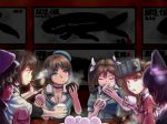 beret blue_eyes bowl breasts character_request chiko_(asimov2007) choker cleavage drinking eating eyepatch food food_in_mouth food_on_face hair_ribbon hat headgear hyuuga_(kantai_collection) japanese_clothes kantai_collection kariginu kiso_(kantai_collection) maya_(kantai_collection) medium_breasts onigiri purple_hair red_eyes ribbon ryuujou_(kantai_collection) soup steam table tenryuu_(kantai_collection) tone_(kantai_collection) twintails visor_cap
