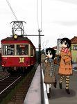 eating food long_hair nkmt original pantyhose scarf striped striped_legwear taiyaki train tram wagashi