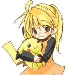 blonde_hair blue_eyes blush child hug lowres nintendo pika_(pokemon) pikachu plush_toy pokemon pokemon_special ponytail simple_background smile solo white_background yellow_(pokemon)