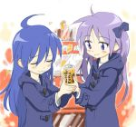 ahoge blue_eyes blue_hair can cans closed_eyes coffee hand_holding hiiragi_kagami hirokazu holding_hands hoodie izumi_konata long_hair lucky_star multiple_girls purple_hair twintails vending_machine