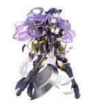1girl angry armor artist_request axe black_armor black_boots black_panties boots breast_hold breasts camilla_(fire_emblem_if) capelet cleavage fire_emblem fire_emblem_heroes fire_emblem_if high_heel_boots high_heels highres holding_axe large_breasts leather lips loincloth long_hair maeshima_shigeki panties purple_hair shiny shiny_clothes shiny_hair shiny_skin solo teeth thigh-highs thigh_boots tiara torn_clothes torn_loincloth torn_thighhighs transparent_background underwear vambraces very_long_hair violet_eyes wavy_hair weapon
