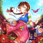 1girl alternate_costume alternate_hairstyle bag bangs blue_sky braid brown_eyes brown_hair bubble_blowing bunny_hair_ornament character_name chewing_gum clouds cloudy_sky cowboy_shot d.va_(overwatch) day eyebrows_visible_through_hair facepaint facial_mark fingernails floral_print flower hair_flower hair_ornament hair_ribbon hanbok hands_up highres holding kinchaku korean_clothes long_hair long_sleeves looking_at_viewer multicolored multicolored_stripes nail_polish outdoors outstretched_arm overwatch palanquin_d.va petals pink_nails pink_skirt pouch red_flower ribbon single_braid skirt sky smile solo striped striped_sleeves swept_bangs tassel tree ttaji_(pass35) v whisker_markings