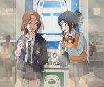 2girls absurdres bag black_hair blurry brown_eyes brown_hair commentary_request depth_of_field green_necktie hair_ribbon hand_in_pocket heizou_(hezo3361) highres holding holding_phone kimi_no_na_wa long_sleeves miyamizu_mitsuha multiple_girls necktie no_entry_sign okudera_miki phone red_ribbon ribbon school_uniform scrunchie striped striped_necktie sweatdrop train_station wrist_scrunchie younger