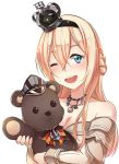 1girl :d anchor blonde_hair blue_eyes braid circle_cut crown dress french_braid german_flag hairband hat ido_(teketeke) jewelry kantai_collection long_hair mini_crown necklace off-shoulder_dress off_shoulder one_eye_closed open_mouth peaked_cap smile solo stuffed_animal stuffed_toy teddy_bear twitter_username upper_body warspite_(kantai_collection) white_background white_dress