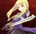 1girl agrias_oaks armor blonde_hair braid breasts brown_eyes final_fantasy final_fantasy_tactics gloves knight long_hair saikachi_(ogre_tree) single_braid solo sword weapon