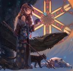 1girl animal arm_at_side artist_name aureolin31 bare_shoulders black_cat black_legwear book breasts brown_eyes brown_hair butterfly cat creature dragon elephant eyelashes glass glowing_butterfly hair_between_eyes helmet highres holding holding_book holding_staff japanese_clothes jewelry kimono light_particles lizard long_sleeves looking_at_viewer necklace no_shoes off_shoulder original pendant pointy_ears polka_dot robe side_glance signature sleeveless sleeves_past_wrists slug small_breasts staff standing star toeless_legwear turtleneck wide_sleeves