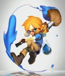 >:| 1boy arm_guards artist_name belt black_gloves blue_eyes boots brown_boots brown_pants closed_mouth cosplay domino_mask earrings fingerless_gloves full_body furrowed_eyebrows gloves grey_background holding holding_weapon ink ink_tank_(splatoon) inkling jewelry jumping knee_boots link link_(cosplay) looking_at_viewer male_focus mask mimme_(haenakk7) orange_hair paintbrush pants pointy_ears reflection shiny shiny_hair simple_background splatoon splatoon_2 tentacle_hair the_legend_of_zelda the_legend_of_zelda:_breath_of_the_wild thick_eyebrows tunic twitter_username weapon