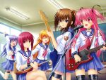 5girls absurdres angel_beats! arm_up blonde_hair blue_eyes blue_skirt brown_hair classroom closed_eyes collar collarbone eyebrows_visible_through_hair guitar highres hisako_(angel_beats!) indoors instrument irie_(angel_beats!) iwasawa jewelry legs_crossed long_hair microphone multiple_girls music na-ga necklace open_mouth pink_hair playing_instrument pleated_skirt purple_hair red_eyes redhead school_uniform sekine serafuku shirt skirt thigh_strap two_side_up white_legwear white_shirt yui_(angel_beats!)