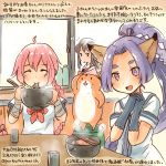 3girls :d ^_^ akagi_(kantai_collection) animal animal_ears black_gloves bowl braid chopsticks closed_eyes commentary_request dated dress eating food fox_ears gloves hamster hatsuharu_(kantai_collection) hikimayu holding holding_bowl kantai_collection kirisawa_juuzou long_hair multiple_girls nenohi_(kantai_collection) non-human_admiral_(kantai_collection) open_mouth pink_hair ponytail purple_hair sailor_collar sailor_dress school_uniform serafuku shide short_sleeves single_braid smile traditional_media translation_request twitter_username very_long_hair violet_eyes window