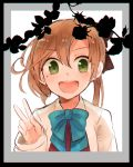 1girl akigumo_(kantai_collection) black_ribbon blue_ribbon brown_hair green_eyes hair_ribbon iei itomugi-kun kantai_collection long_hair open_mouth photo_(object) picture_frame plant ponytail ribbon school_uniform solo v vines