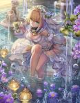 1girl bangs barefoot belt blonde_hair breasts bridal_veil cleavage closed_mouth cup detached_collar detached_sleeves eyebrows_visible_through_hair fate/extra fate/extra_ccc fate/grand_order fate_(series) fountain goblet green_eyes hair_between_eyes hair_intakes hand_up holding holding_cup knee_up large_breasts lock looking_at_viewer padlock petals petals_on_water purple_flower saber_bride saber_extra sculpture short_hair_with_long_locks showgirl_skirt sitting smile soaking_feet solo torino_akua veil wide_sleeves