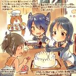 3girls :d animal black_gloves black_hair black_necktie brown_hair cake commentary_request dated elbow_gloves eyepatch fingerless_gloves food fruit gloves green_eyes hamster headgear holding holding_plate i-401_(kantai_collection) kantai_collection kirisawa_juuzou long_hair low_twintails multiple_girls necktie non-human_admiral_(kantai_collection) open_mouth plate ponytail purple_hair sailor_collar school_uniform serafuku short_hair short_sleeves sleeveless smile strawberry suzukaze_(kantai_collection) tenryuu_(kantai_collection) traditional_media translation_request twintails twitter_username yellow_eyes younger