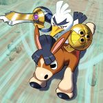 2others aegislash animal animal_ears beak bird brown_eyes creatures_(company) donkey duck feathers game_freak gen_6_pokemon gen_7_pokemon gen_8_pokemon holding holding_sword holding_weapon horse horse_ears mudbray nintendo no_humans olm_digital pokemon pokemon_(anime) pokemon_(creature) pokemon_(game) pokemon_sm pokemon_swsh pokemon_xy riding shield sirfetch'd speed_lines sword thick_eyebrows uka_(cessa) v-shaped_eyebrows weapon