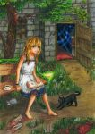 1girl animal barefoot black_cat blonde_hair blood book bow braid butterfly cat chains door dress flower frog full_body green_eyes highres majo_no_ie red_bow red_rose rose scissors shoes silk smile snake spider_web stone stuffed_animal stuffed_toy tea teddy_bear viola_(majo_no_ie) window windows