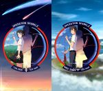 1boy 1girl absurdres aircraft airplane black_hair blue_eyes brown_eyes brown_hair clouds comet commentary copyright_name day diffraction_spikes green_necktie hair_ribbon highres kimi_no_na_wa looking_at_viewer mig-31 miyamizu_mitsuha necktie night night_sky red_ribbon ribbon school_uniform short_sleeves sky smile stratos_4 striped striped_necktie tachibana_taki thompson tsr-2 twilight